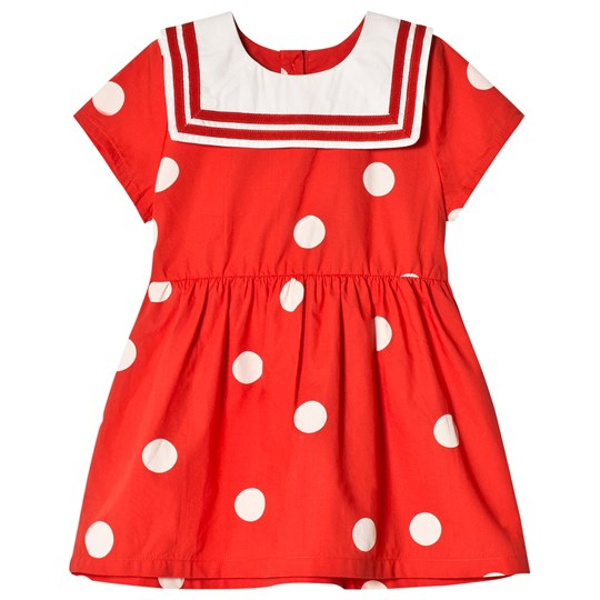 Mini Rodini Prickig Vävd Sailor Klänning Röd Red
