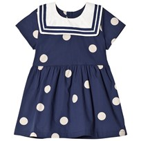 Mini Rodini Dot Woven Sailor Dress Navy Laivastonsininen