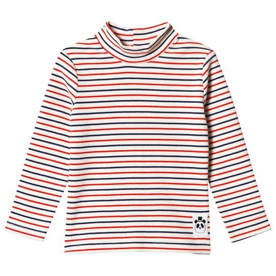 Mini Rodini Stripe Rib Turtle Neck Off White White