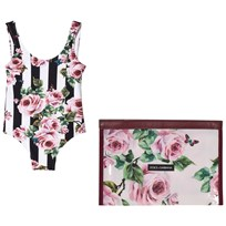 Dolce & Gabbana Black and White Floral Print Swimsuit HWI10