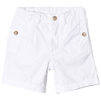 White Poplin Shorts with Tape Logo Print