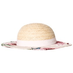 Dolce & Gabbana Beige Straw Hat with Floral Brim and Bow
