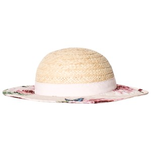 Image of Dolce & Gabbana Beige Straw Hat with Floral Brim and Bow M 52cm (4-6 years) (2818735971)