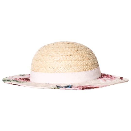 Dolce & Gabbana Beige Straw Hat with Floral Brim and Bow HAH41