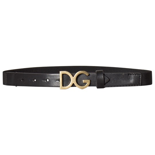 Dolce & Gabbana Black and Gold D&G Elasticated and Leather Belt 80999