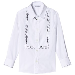 Image of Dolce & Gabbana White Tuxedo Shirt with Embroidered Lettering 5 years (2818739069)