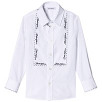 Dolce & Gabbana White Tuxedo Shirt with Embroidered Lettering W0800