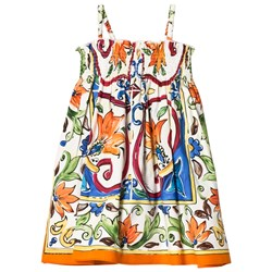 Dolce & Gabbana Multi Majolica Print Cotton Sun Dress
