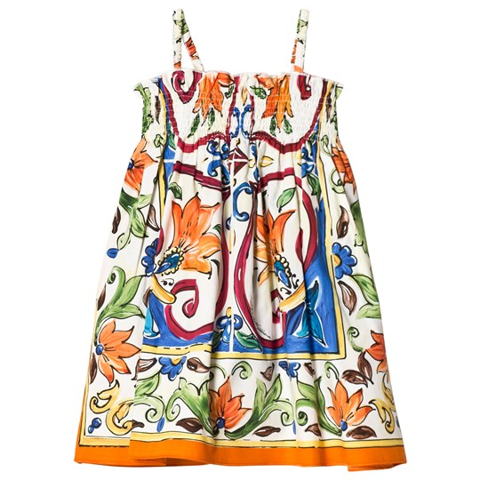 Dolce & Gabbana Multi Majolica Print Cotton Sun Dress HW681