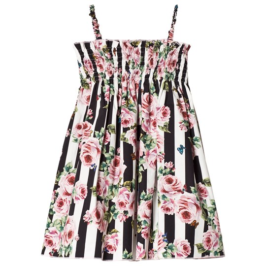 Dolce & Gabbana Black and White Stripe and Floral Sun Dress HWI10