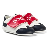 Dolce & Gabbana White, Red and Blue Branded Velcro Crib Shoes 8T576