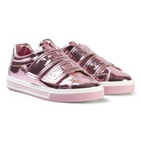 Dolce & Gabbana Pink Metallic Branded Velcro Trainers 8B404