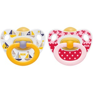 Image of NUK 2-Pack Happy Kids Latex Pacifier Red/Yellow Size 2 (3125361245)