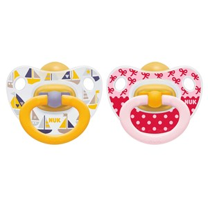Image of NUK 2-Pack Happy Kids Latex Pacifier Red/Yellow Size 3 (3125361251)