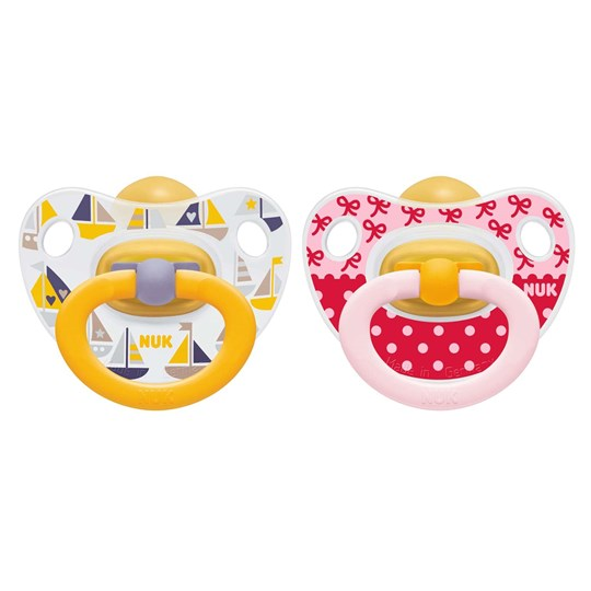 NUK 2-Pack Happy Kids Latex Pacifier Red/Yellow Size 3 Multi