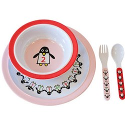 Färg & Form Penguin Pals Melamine Set Red/Pink