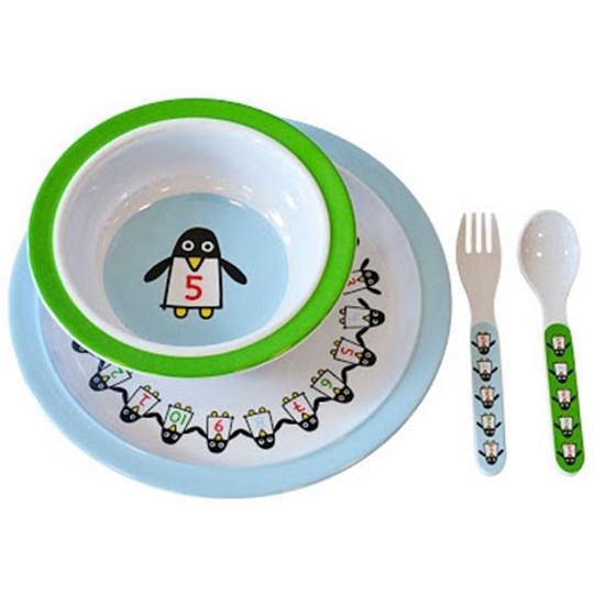 Färg & Form Penguin Pals Melamine Set Blue/Green Multi