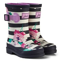 Tom Joule Navy Stripe and Floral Print Girls Wellies MARGATE FLORAL STRIPE