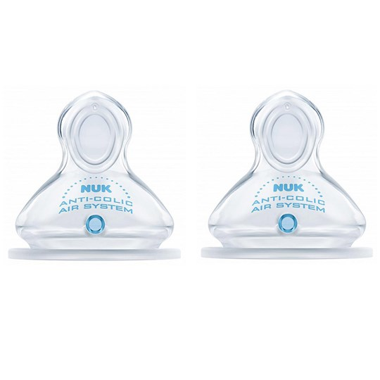 NUK 2-Pack First Choice+ Silicone Teat 0-6M (M) TRANSPARENT