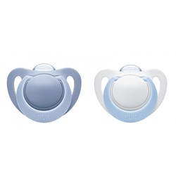 NUK 2-Pack Genius Silicone Pacifier 0-2 Months Blue/White