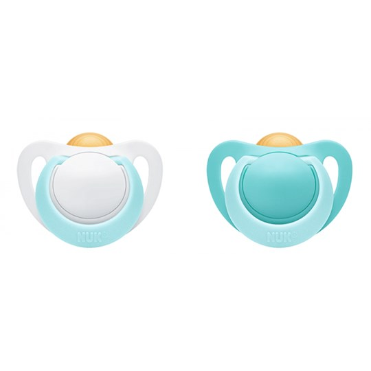 NUK 2-Pack Genius Pacifier Latex 0-6 Months Turquoise/White Turkos/Vit