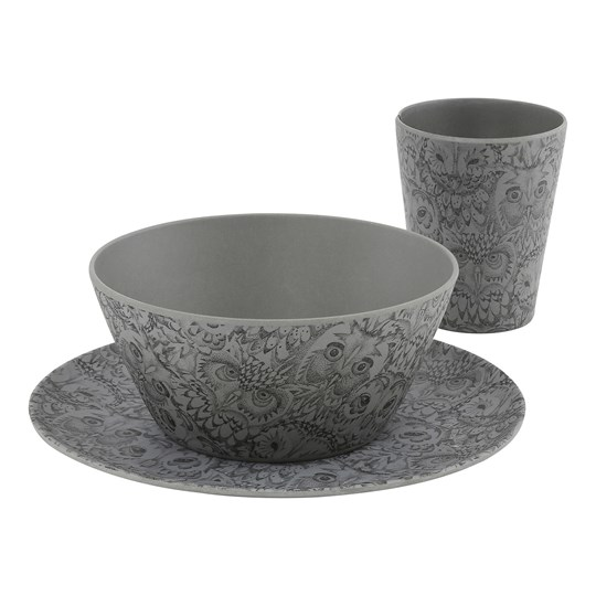 Soft Gallery Bamboo Tableware Set Drizzle Owl Print Drizzle, AOP Owl