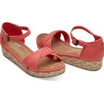 Toms Sandaler, Young, Coral Cotton Twill Pink