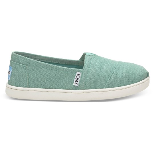 Toms Canvasskor, Young, Turquoise Coated Linen Blue