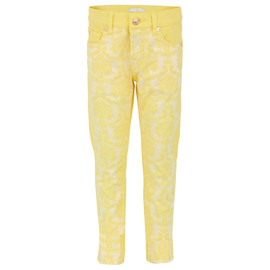7 For All Mankind Yellow Brocade Skinny Jeans Yellow