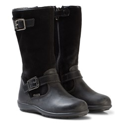 Primigi Black Leather and Suede Gore-Tex Buckle Tall Boots