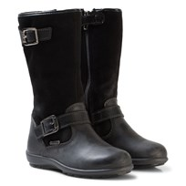 Primigi Black Leather and Suede Gore-Tex Buckle Tall Boots NERO/NERO