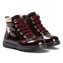 Primigi Burgundy Star Patent Zip and Lace Boots MOSTO