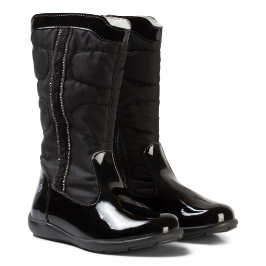 Primigi Black Patent and Quilted Tall Boots with Diamante Detail NERO/NERO