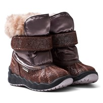 Primigi Pink and Bronze Glitter Faux Fur Gore-Tex Snow Boots CIOCCOLAT/TAUPE