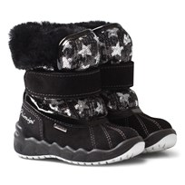 Primigi Black and Sequin Star and Faux Fur Gore Tex Snow Boots NERO/NERO-ARGEN