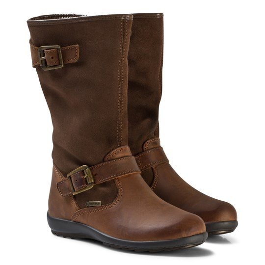 Primigi Chestnut Leather and Suede Gore-Tex Buckle Tall Boots MARR.SC/TORT.SC