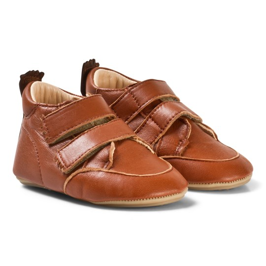 Easy Peasy Brown Leather Velcro Izi V First Walker Shoes 308