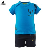 adidas Performance Blue Messi Tee and Shorts Set Top:SOLAR BLUE2 S14/ZERO MET. Bottom:NIGHT NAVY