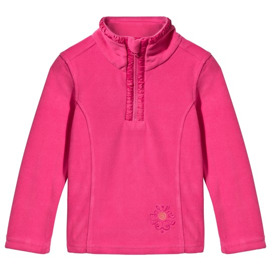 Poivre Blanc Pink Embroidered 1/2 Zip Polar Fleece Jacket POPPY PINK 2143
