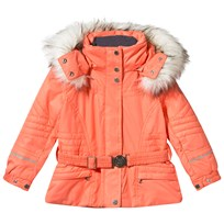 Poivre Blanc Orange Fox Embroidered Faux Fur Ski Jacket SUGAR ORANGE 2152