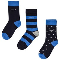 Gant 3 Pack of Stripe, Star and Solid Socks 410