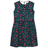 Oscar De La Renta Navy Floral Fine Velvet Shift Dress RUBY NAVY