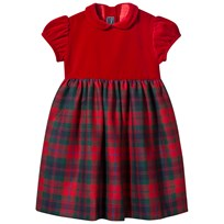 Oscar De La Renta Red Velvet and Tartan Party Dress HOLIDAY PLAID