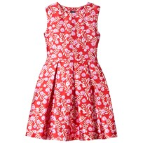 Oscar De La Renta Red and Pink Petite Roses Sleeveless Dress RUBY/FUCHSIA