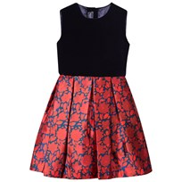 Oscar De La Renta Navy Velvet and Red Floral Sleeveless Dress with Bow Back Ruby