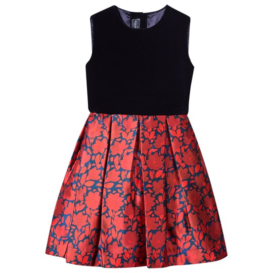 Oscar De La Renta Floral Sleeveless Dress with Bow Back in Navy Velvet and Red Ruby