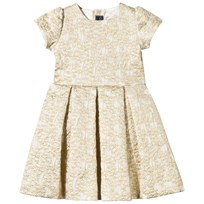 Oscar De La Renta Gold Jacquard Dress with Bow Back Gold