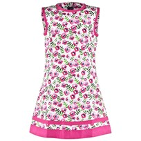 Oscar De La Renta Pink Multi Spring Pansies Cotton A-line Dress Shocking Pink