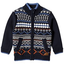 Pepe Jeans Navy and Multi Fairisle Knit Front Zip Jacket 588