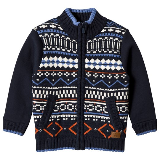 Pepe Jeans Navy and Multi Knit Front Zip Jacket 588